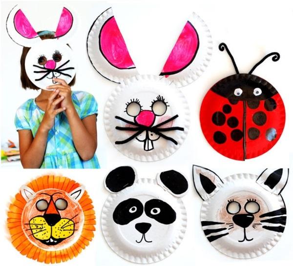 Schöne Tiermasken mit Kindern basteln pappeteller