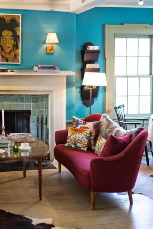 Trendfarbe Marsala inneneinrichtung wohnstil blau wand