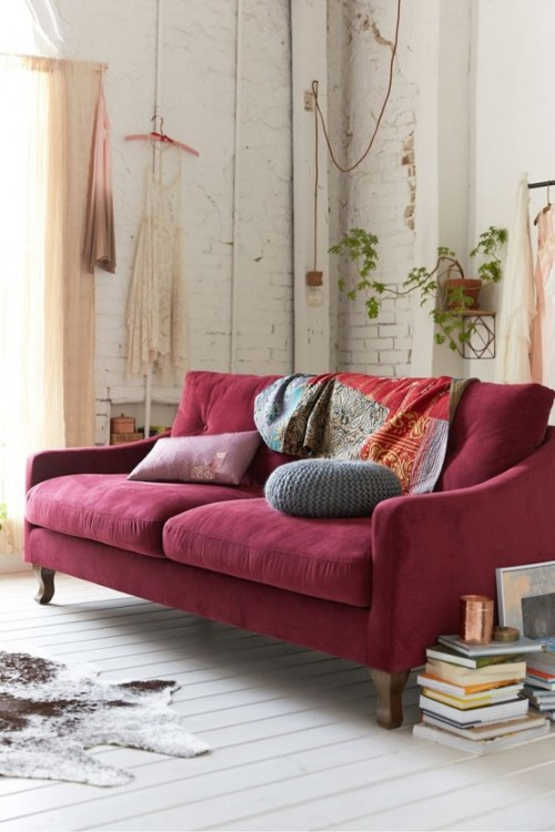 Trendfarbe Marsala inneneinrichtung wohnstil sofa design