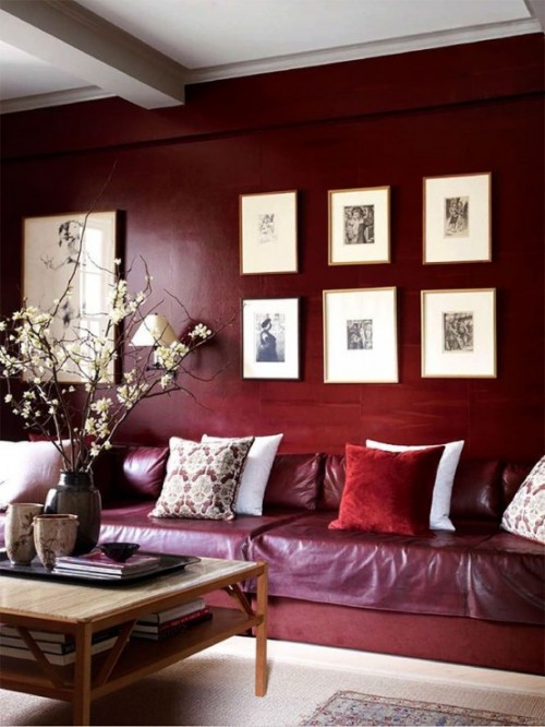 Trendfarbe Marsala inneneinrichtung wohnstil wand