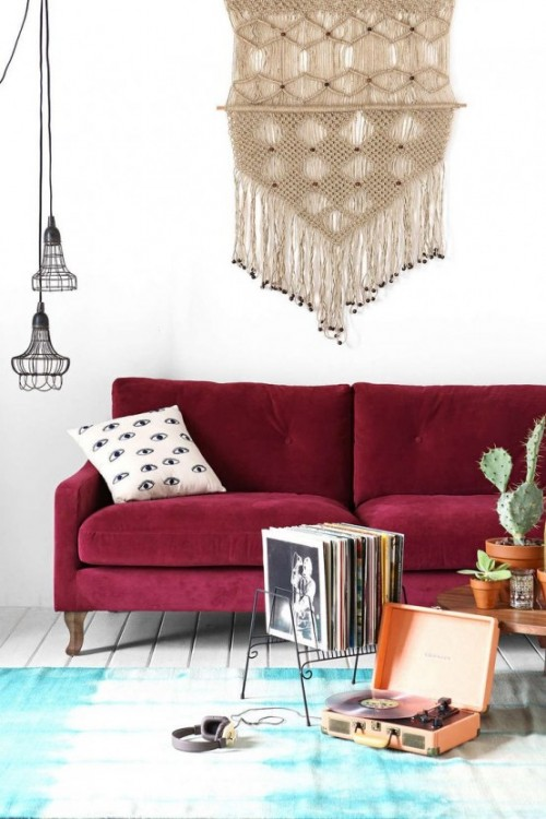 Trendfarbe Marsala inneneinrichtung wohnstil wanddeko