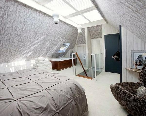 Velux Dachfenster schlafzimmer Dachflächenfenster grau farbgestaltung