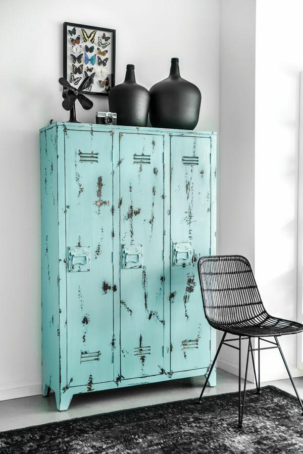 Vintage Look Möbel metallschrank retro design wohnzimmer