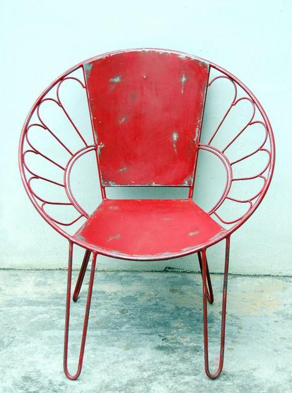 Vintage Look Möbel metallstuhl rot