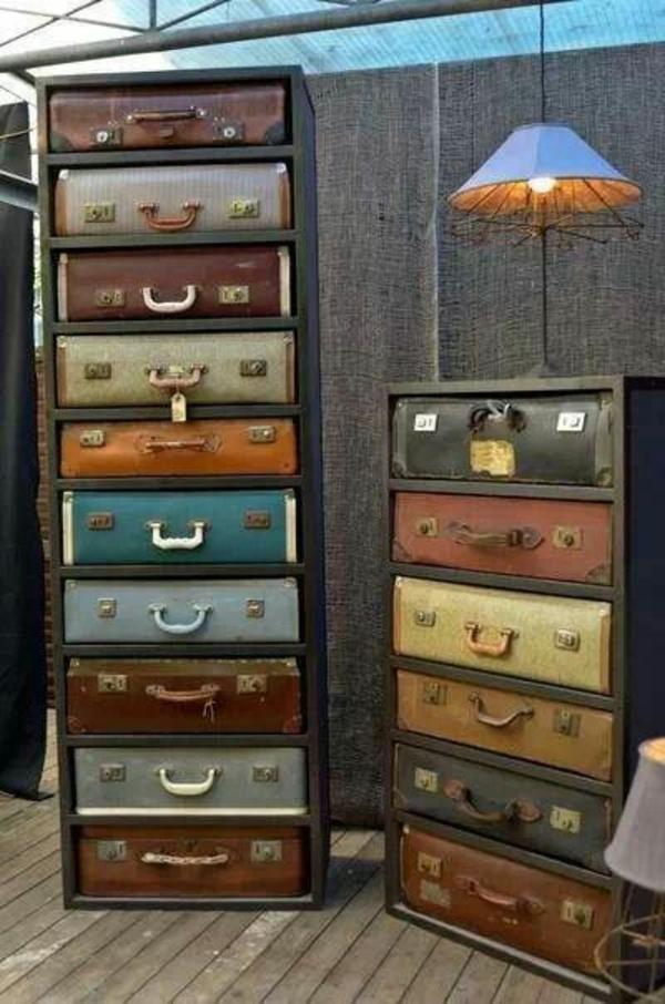 Vintage Look Möbel schubladenschrank alte koffer