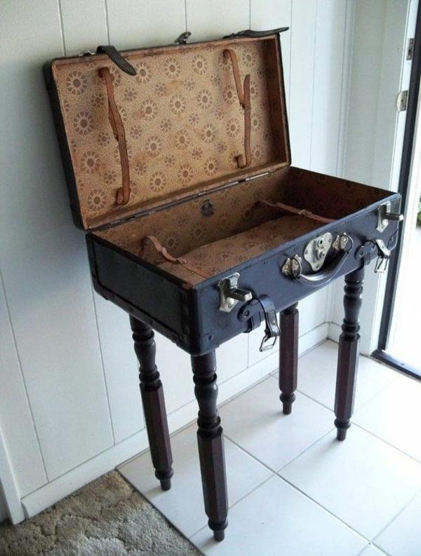 Vintage Look Möbel selber machen beistelltisch koffer