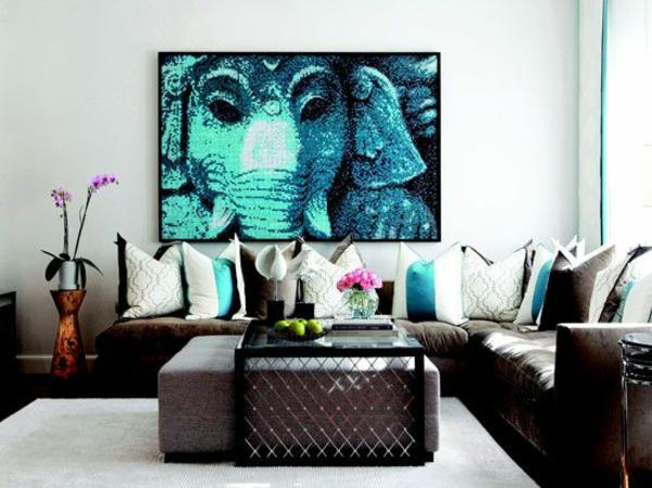 contemporary art kunst Malerei elefant blau indien