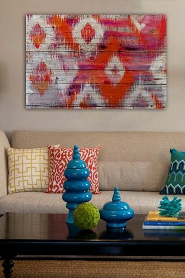 Zeitgenössische Malerei Ikat Muster Beige