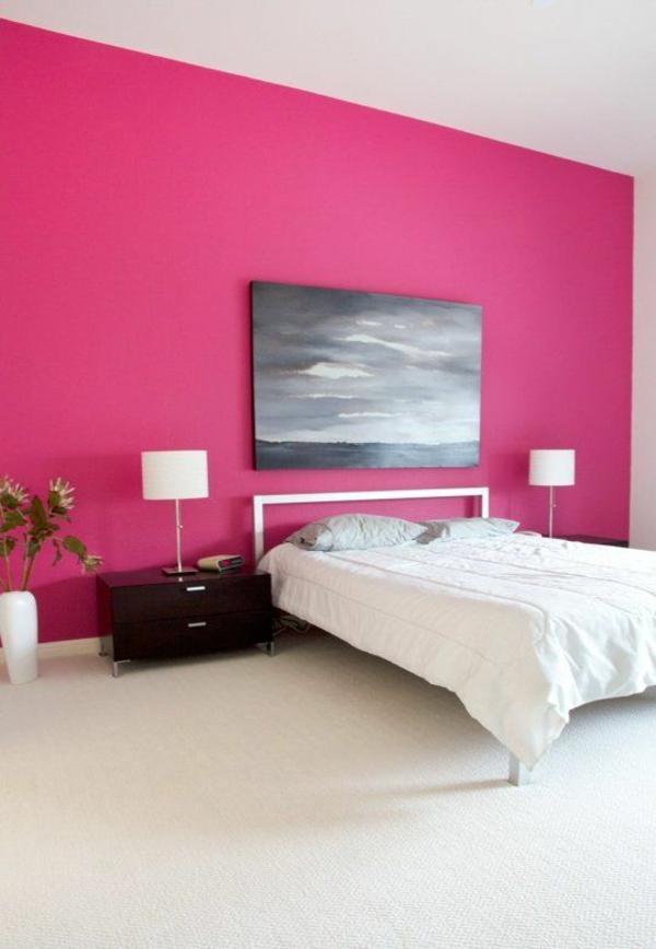 Kräftige Farben Malerei Schlafzimmer Bett