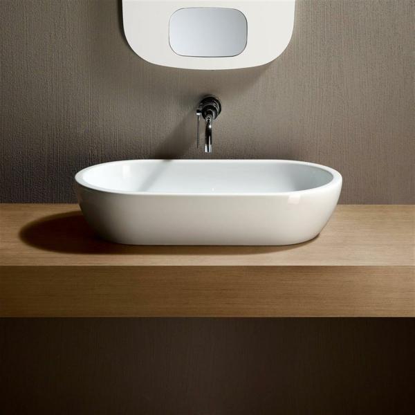 bad ideen badeinrichtung weiße waschbecken oval