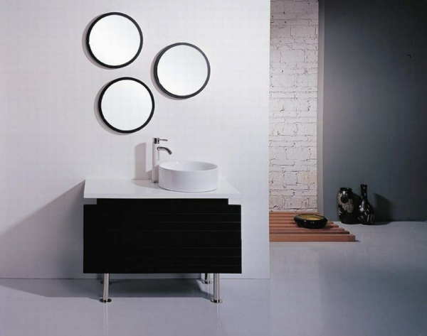 runder badspiegel bad ideen weißes wschbecken rund design badspiegel