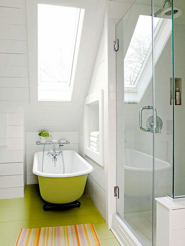 badezimmer gestaltung ideen modern grün badewanne