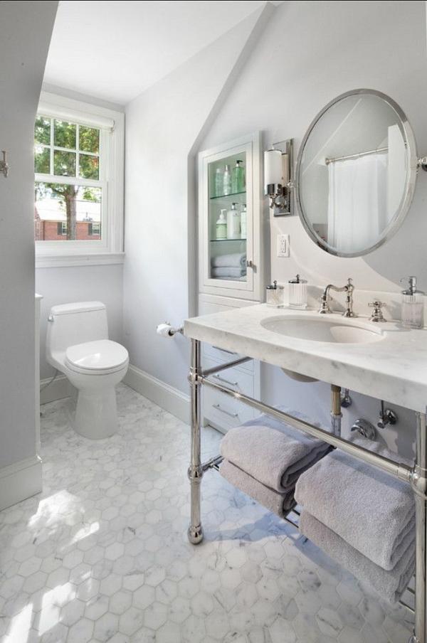 badezimmer gestaltung ideen modern rund spiegel