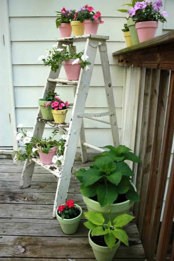 blumenkasten bepflanzen leiter blumentopf zimmerpflanzen