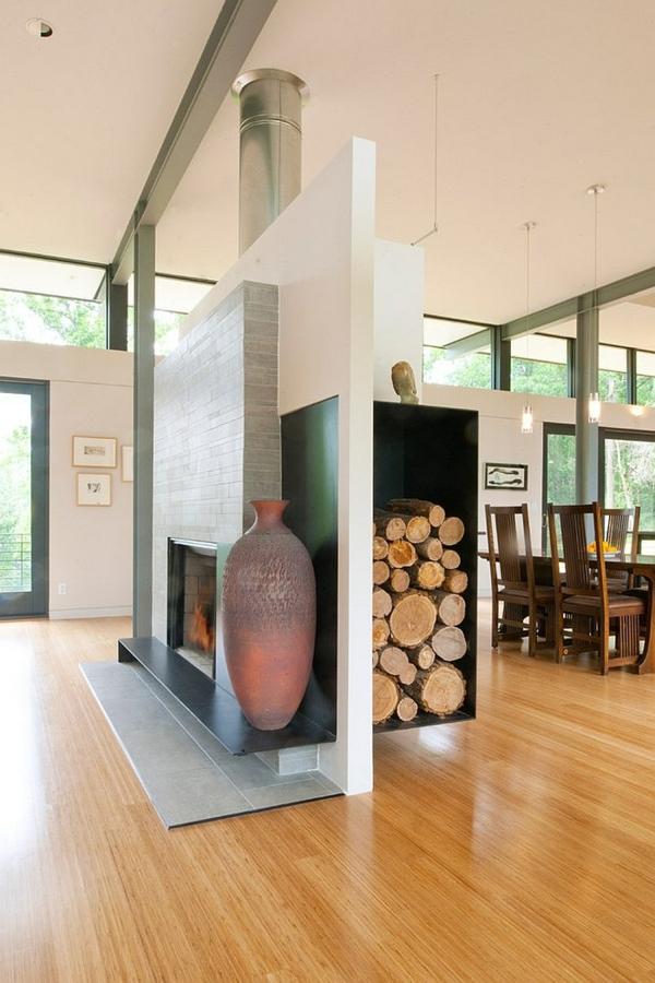 brennholz richtig lagern kamin keramische urne