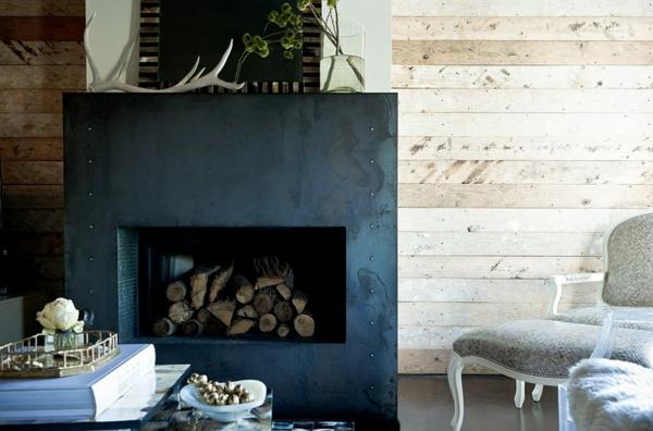 brennholz lagern wandverkleidung naturholz kamin