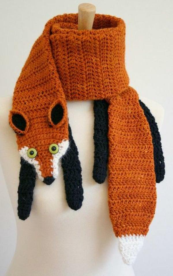 damenschals orange fuchs stricken winterschals damen