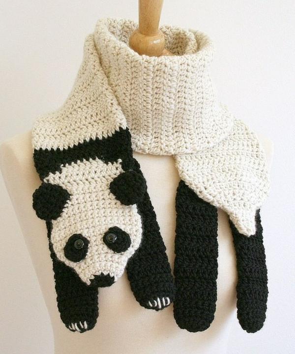 damenschal schwarz weiß panda winterschals damen