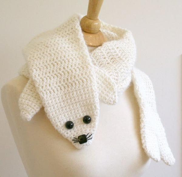 damenschal seehund weiß winterschals damen