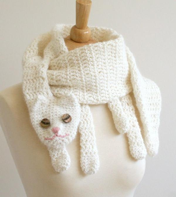 damenschal weiße katze winterschals damen