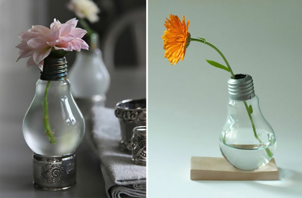 diy projekte alte glühbirnen blumen vase bastelideen