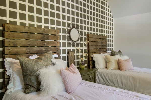 europalette als kopfteil 22 nachhaltige diy betten ideen. Black Bedroom Furniture Sets. Home Design Ideas