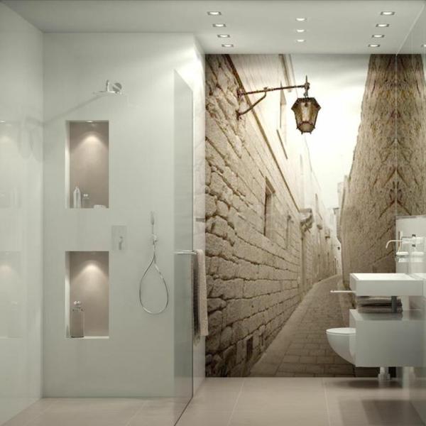 fototapete badezimmer schmale straße