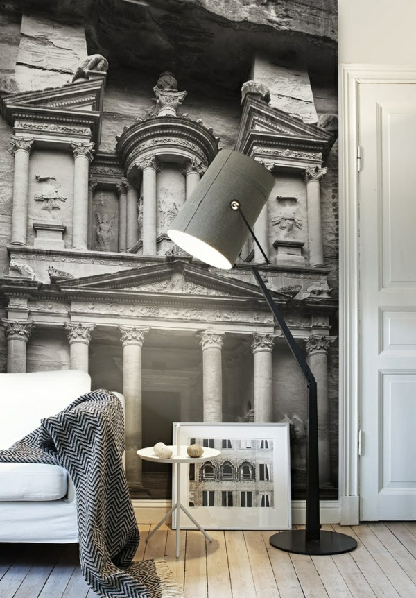 wandtapete foto schwarz weiß felsentempel petra