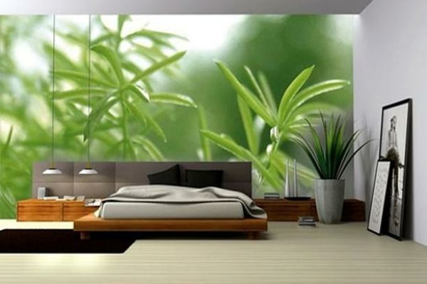 fototapete schlafzimmer doppelbett foto grüne pflanzen