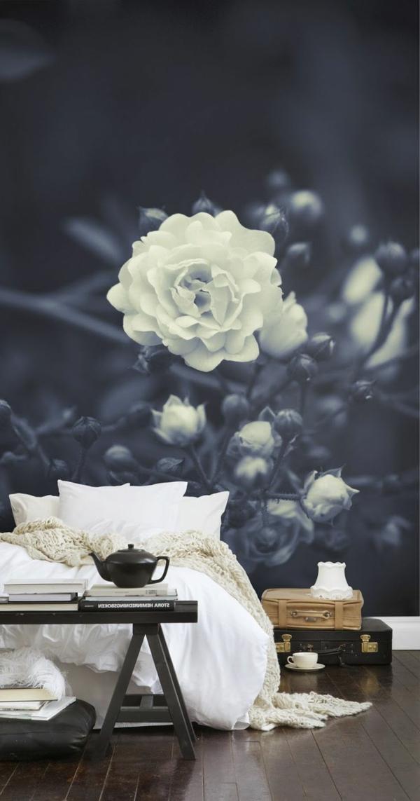 fototapete rosen schlafzimmer schwarz weiß