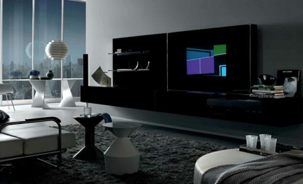 futurismus kunst hi tech schwarze regale grauer teppich