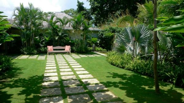 gartengestaltung beispiele steinfliesen palmen