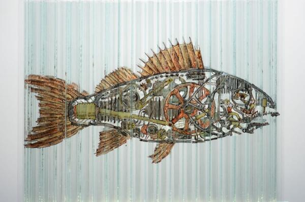 glaskunst biotechnischer fisch glas