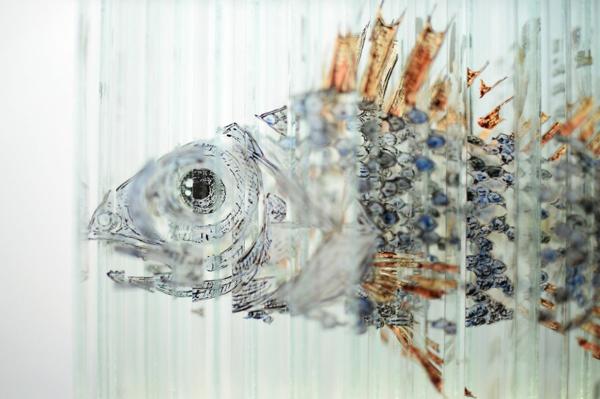 glas kunst fisch detail glas