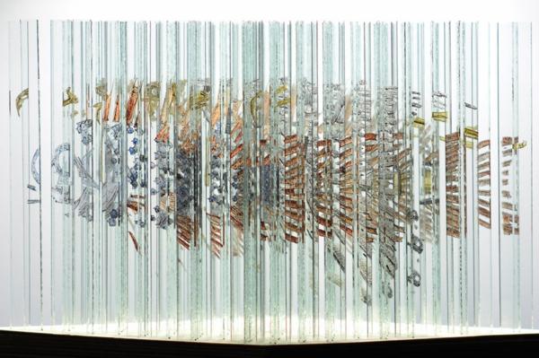 glaskunst fragmente fisch vogel