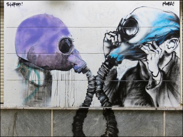 graffiti kunst athen griechenland gasmasken