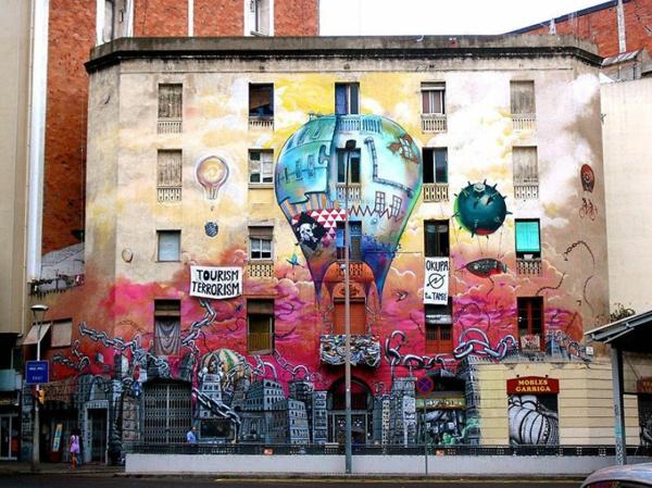 kunst graffiti barcelona spanien heißluftballon