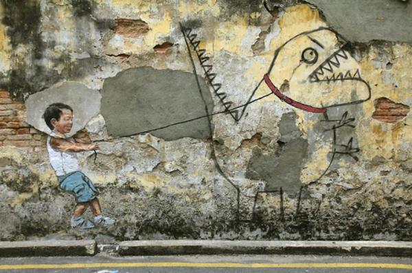kunst graffiti georgetown malaysia drache