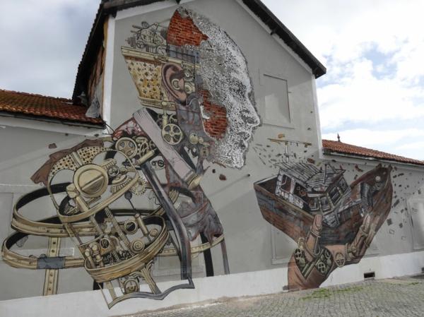 kunst graffiti lissabon portugal roboter
