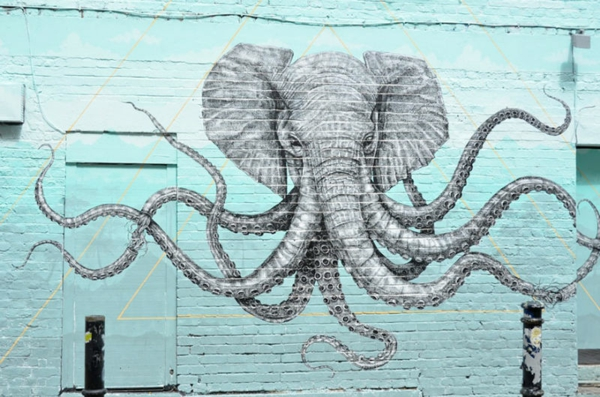 graffiti bilder london elefant oktopus