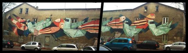 graffiti kunst warschau polen vögel