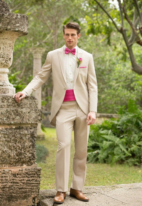 hochzeitsmode herren farbiger akzent anzüge bräutigam