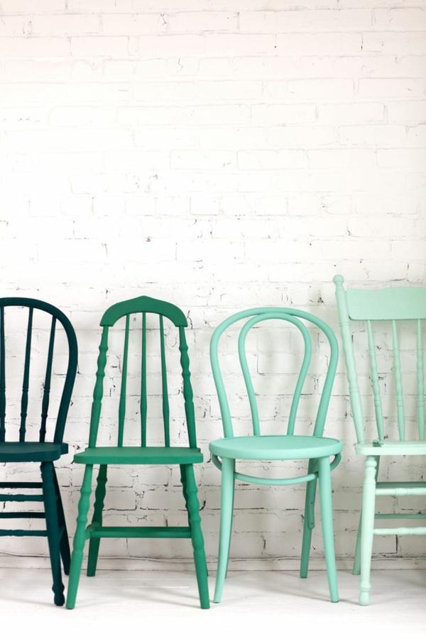 innendesign ideen möbel stühle grün blau