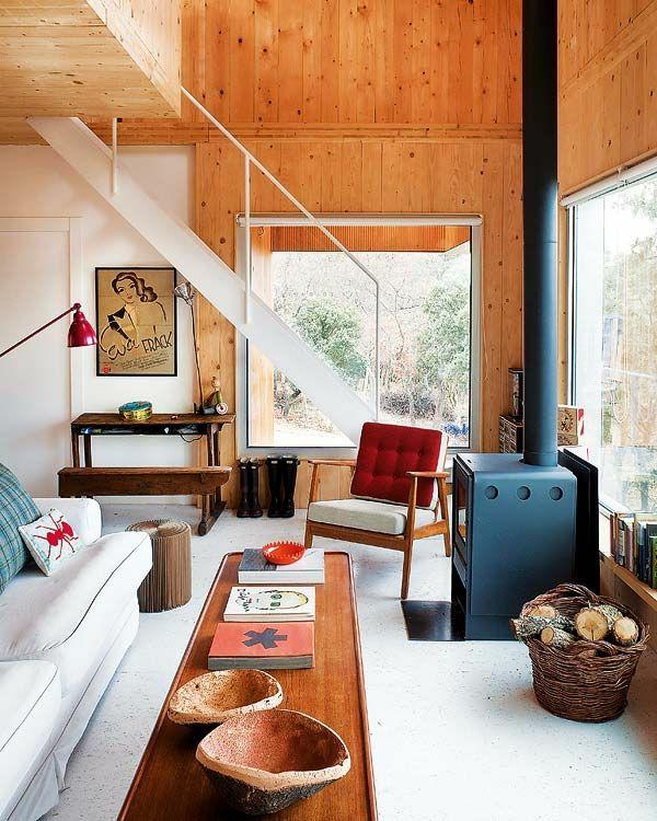 innendesign ideen nachhaltige architektur holzmöbel wohnzimmer kamin