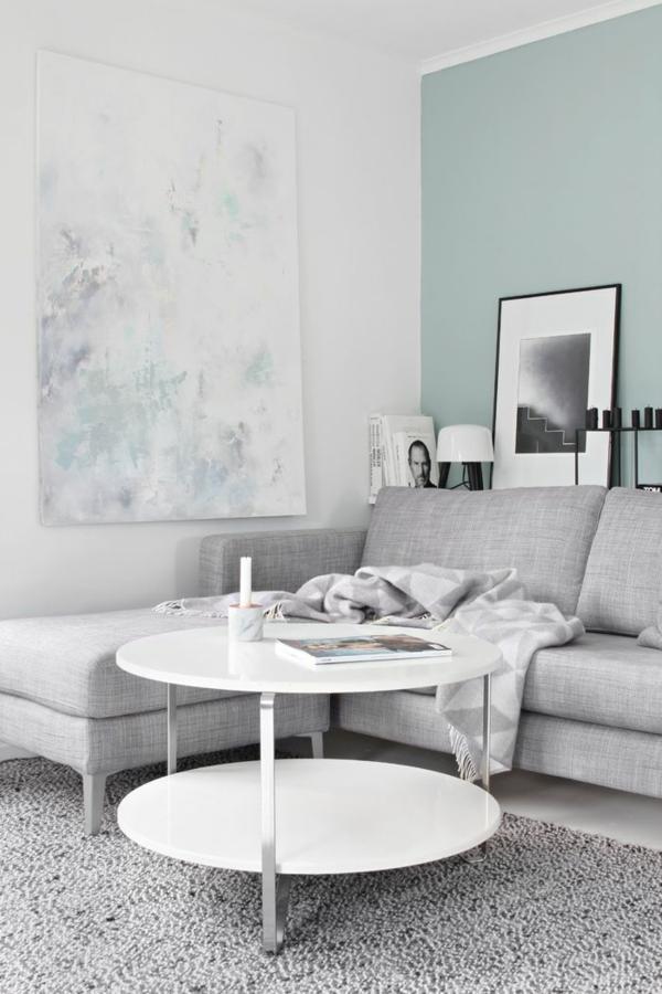 innendesign ideen wohnzimmer wandgestaltung weiß farbakzente