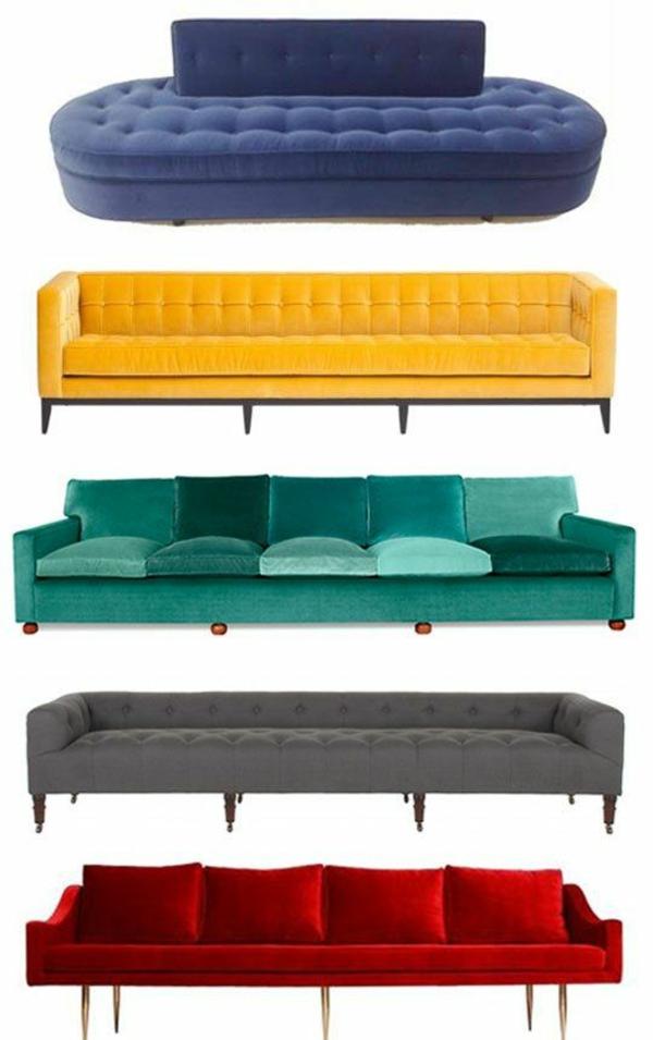 innendesign trends wohnzimmer sofa grelle farben