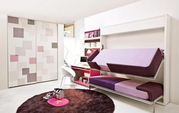 jugendzimmer einrichten brauner teppich rund betten