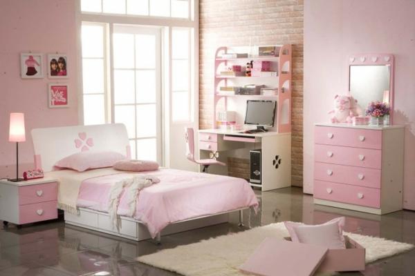 jugendzimmer mädchen coole tischlampe rosa wände