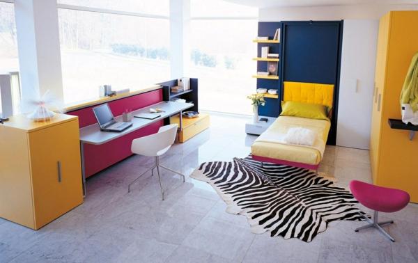 jugendzimmer mädchen fellteppich gelbe möbel