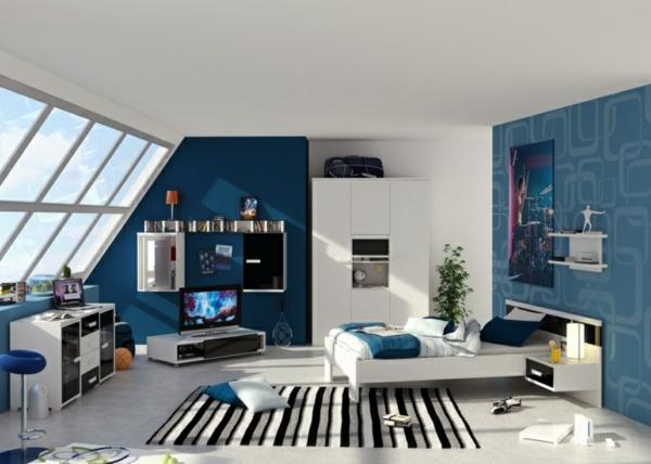 jugendzimmermöbel jungen blaue wandgestaltung teppich streifen